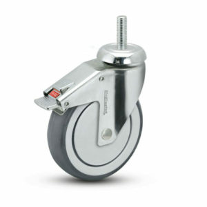 3 Inch Medcaster Chrome Hospital Swivel Caster - (CH-03TPP-125-TL-TS02)