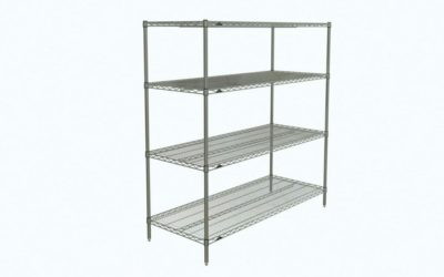 "Super Erecta 4-Tier Starter Unit, Chrome, 24"" x 60"" x 63"" (0-41105-65996-0)"